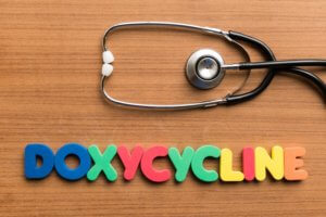 Doxycycline colorful word on white background with stethoscope